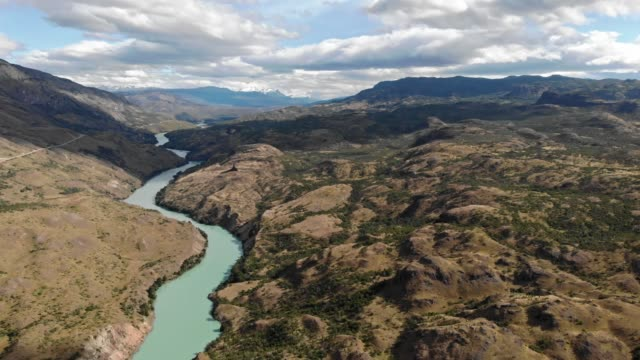 aerial view of baker river in the chilean patagonia - mountain range stock videos & royalty-free footage