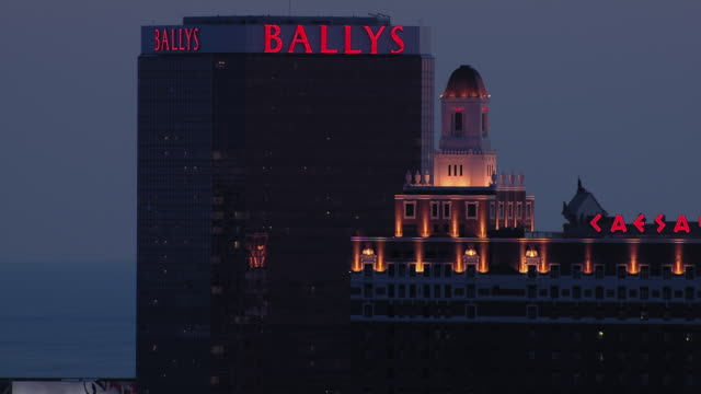 aerial view of bally's atlantic city hotel & casino and the claridge, atlantic city, new jersey, united states of america. - atlantic city stock videos & royalty-free footage