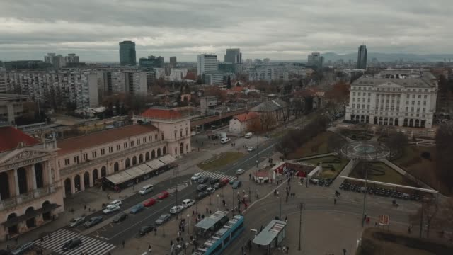 aerial view of ban jelacic square in the center of zagreb, croatia in a cloudy day - zagreb stock videos & royalty-free footage