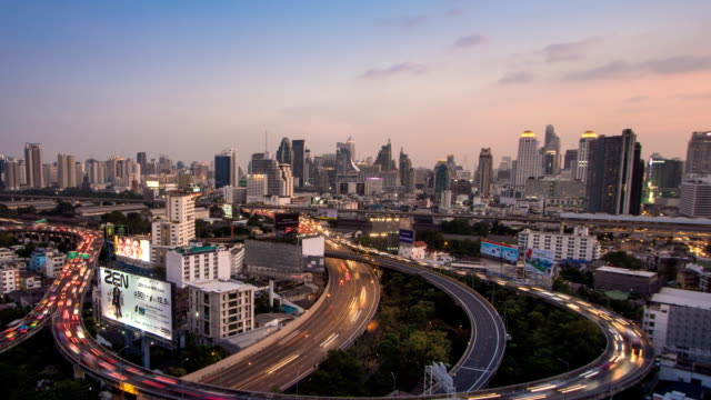 TD TL D2N Aerial view of Bangkok building and Express ways , Thailand. Modern building increasing number day by day.