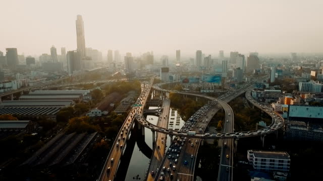 Aerial view of Bangkok city at sunset