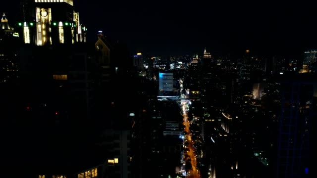 aerial view of bangkok cityscape ariel view at night - moving up stock videos & royalty-free footage