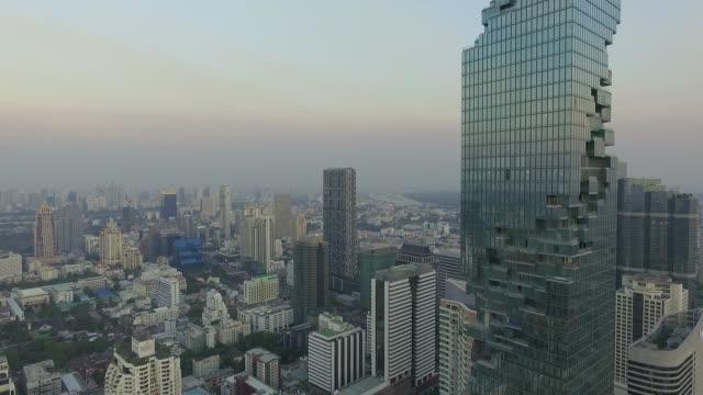 Aerial view of Bangkok skyline at sunset