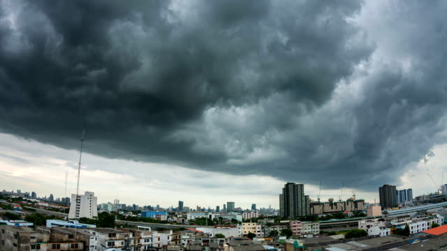 Aerial view of Bangkok Thailand, Bangkok under a cloudy sky.