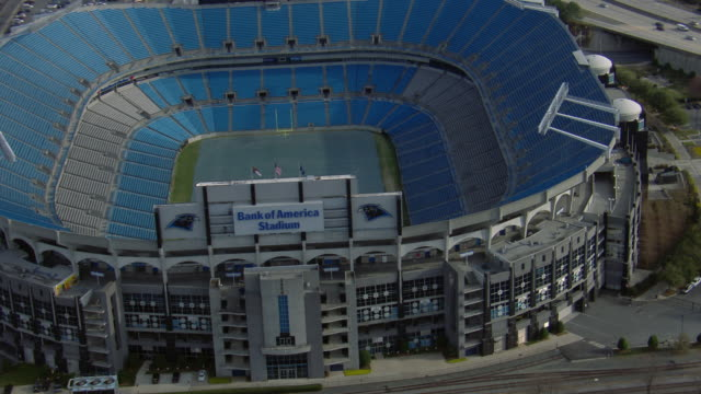 aerial view of bank of america stadium in charlotte city, north carolina, united states of america. - western script stock videos & royalty-free footage