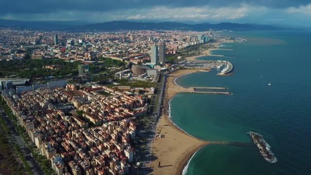 vídeos y material grabado en eventos de stock de aerial view of barcelona - barcelona