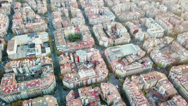 aerial view of barcelona - city street stock videos & royalty-free footage
