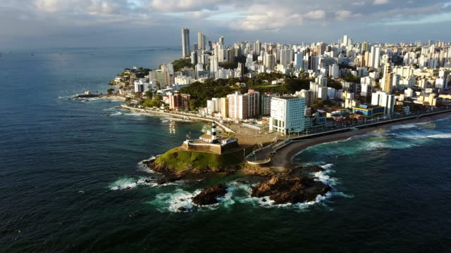 aerial view of barra lighthouse and the cityscape, bahia, brazil - bahia state stock videos and b-roll footage