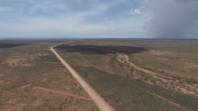 aerial view of barren landscape port hedland western australia australia on monday march 18 2019 - horizon over land stock videos & royalty-free footage