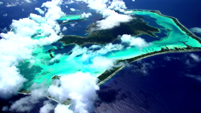 Aerial view of barrier reef on Bora Bora