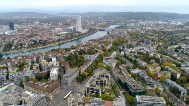 aerial view of basel cityscape in switzerland - river rhine stock videos & royalty-free footage