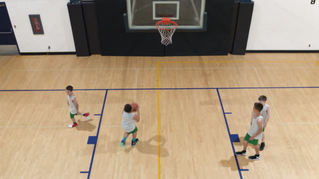 aerial view of basketball layup drills - warm up exercise stock videos & royalty-free footage