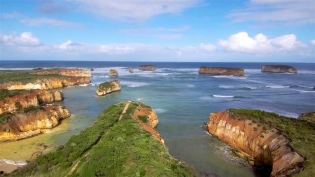 aerial view of bay of ilands - great ocean road stock videos & royalty-free footage