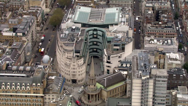 aerial view of bbc broadcasting house - broadcasting stock videos & royalty-free footage