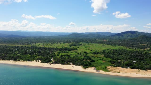 aerial view of beach and landscape at the lake malawi, africa - malawi stock videos & royalty-free footage