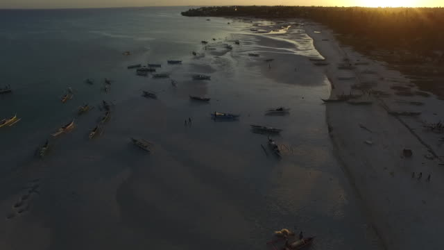 Aerial view of beach and water activity, fishing boats