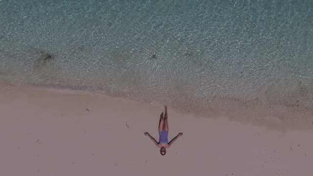 Aerial view of beach and woman relaxing by water's edge