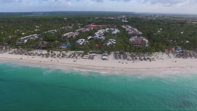aerial (drone) view of beach coastline and caribbean sea - dominican republic stock videos and b-roll footage