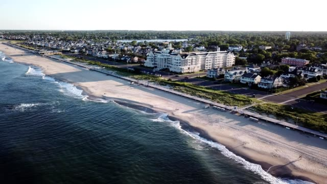 aerial view of beach front homes in spring lake new jersey - ocean avenue stock videos & royalty-free footage