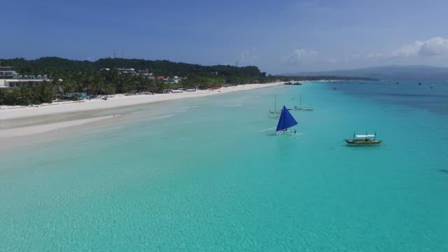 Aerial view of beach on Boracay Island.