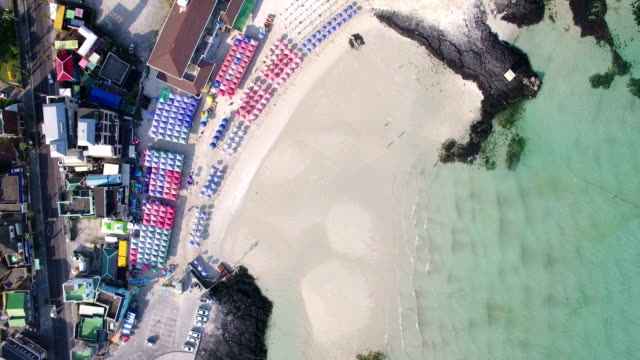 Aerial view of Beach Umbrella and Coastal Feature of Hyeopjae Beach