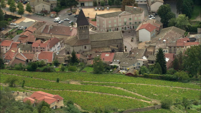 ws aerial view of beaujeu, rhone-alpes, france - rhone alpes stock videos & royalty-free footage
