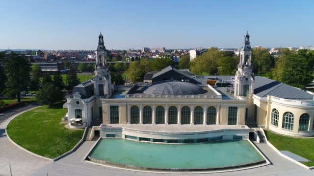 aerial view of beaumont palace, pau - france stock videos & royalty-free footage
