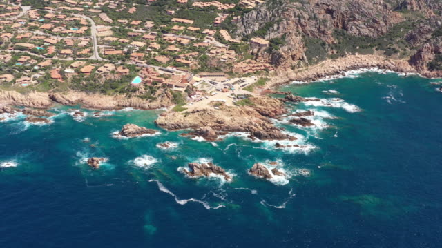 aerial view of  beautiful bay of the famous costa paradiso - mar mediterraneo video stock e b–roll