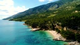 Aerial view of Beautiful coast of Croatia and Dalmatia