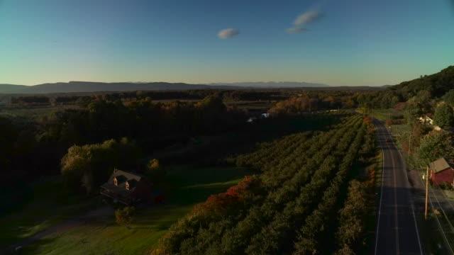 vídeos de stock, filmes e b-roll de aerial view of beautiful fall foliage - new paltz