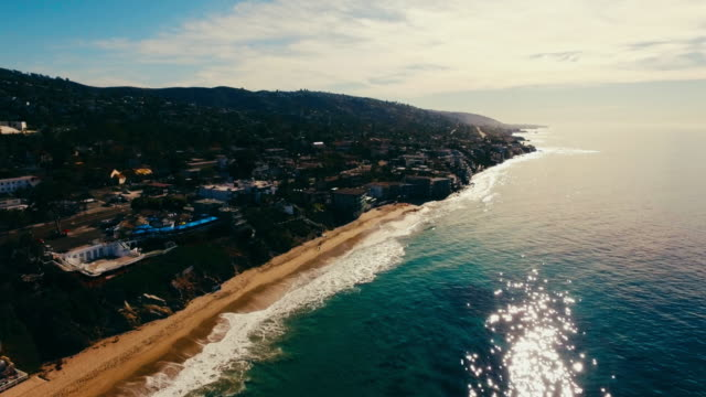 aerial view of beautiful laguna beach in the early morning sun. - laguna beach california stock videos & royalty-free footage