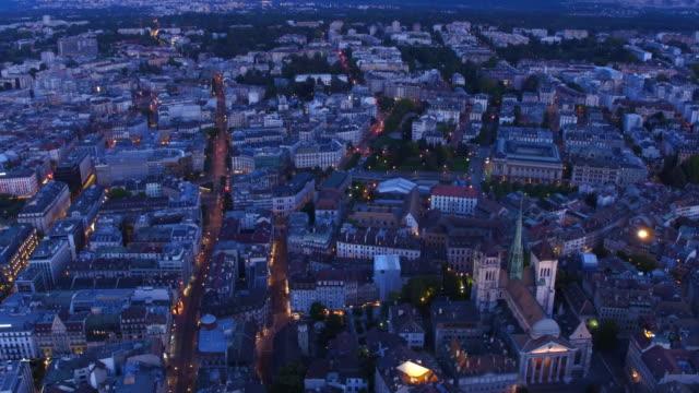 Aerial view of beautiful night of Geneva old city