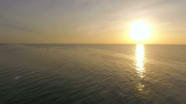 Aerial View of Beautiful Sunrise and Ocean in the Morning