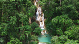 Aerial view of beautiful Tat Kuang Si Waterfalls at Luang Prabang in Laos