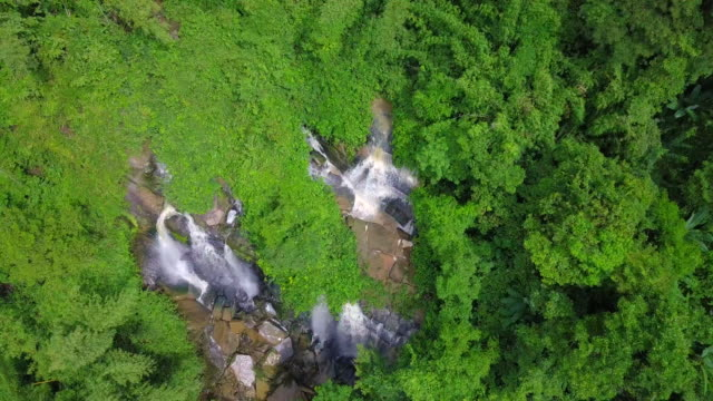 Aerial view of beautiful waterfall in Thailand