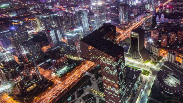 T/L WS HA PAN Aerial View of Beijing CBD and CCTV Building