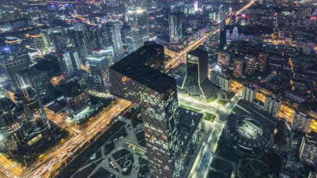 t/l ws ha zi aerial view of beijing cbd area at night / beijing, china - pechino video stock e b–roll
