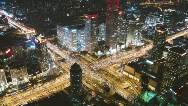 T/L MS HA ZO Aerial View of Beijing CBD Area at Night / Beijing, China