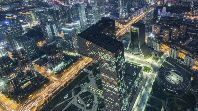 T/L WS HA TU Aerial View of Beijing CBD Area at Night / Beijing, China