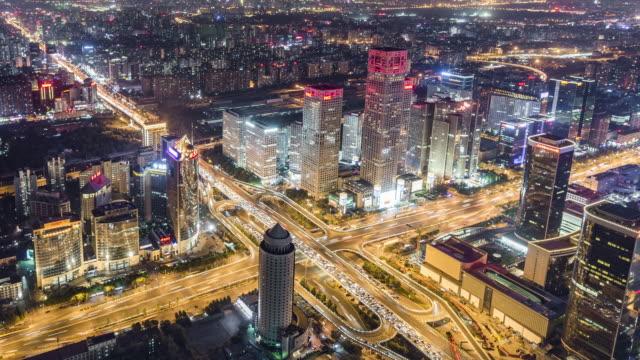 vídeos de stock, filmes e b-roll de t/l ms ha panvista aérea da zona de cbd de pequim / beijing, china - negócios finanças e indústria