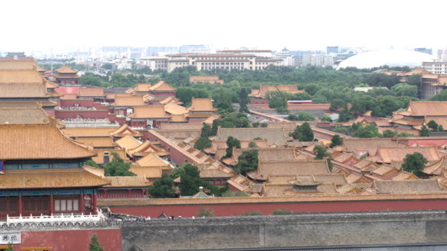 aerial view of beijing city from jingshan park - forbidden stock videos & royalty-free footage