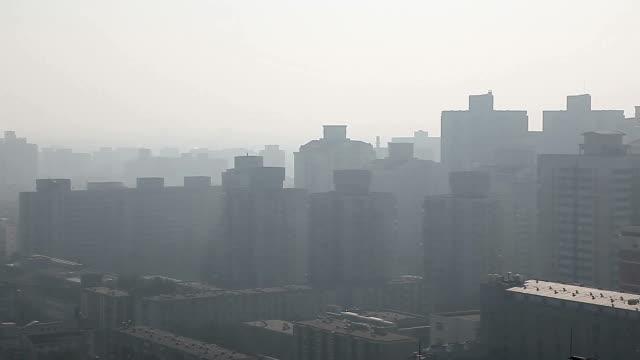 強い濁り汚染下で北京市の航空写真
