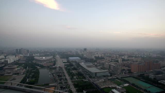 aerial view of beijing from the tower - オリンピックスタジアム点の映像素材/bロール