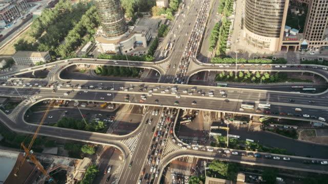 T/L ZI Aerial View of Beijing Road Kreuzung / Peking, China