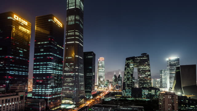 t/l aerial view of beijing skyline and downtown at night / beijing, china - beijing stock videos & royalty-free footage