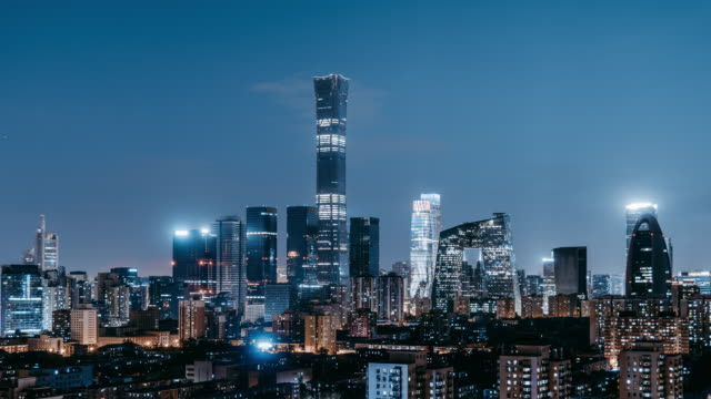 t/l zi aerial view of beijing skyline and downtown at night / beijing, china - vanishing point stock videos & royalty-free footage