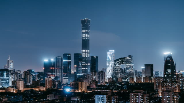 t/l zo aerial view of beijing skyline and downtown at night / beijing, china - clear sky stock videos & royalty-free footage