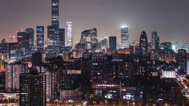 t/l td aerial view of beijing skyline and downtown at night / beijing, china - beijing stock videos & royalty-free footage