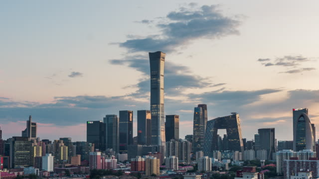 t/l zi aerial view of beijing skyline and downtown at sunset / beijing, china - beijing stock videos & royalty-free footage