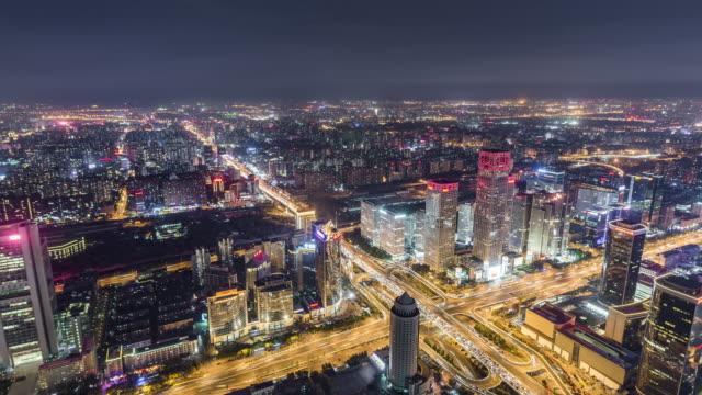 T/L WS HA TD Antenne Blick auf Beijing Skyline bei Nacht / Peking, China